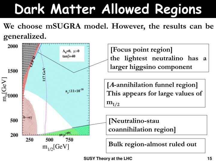 Dark Matter Allowed Regions