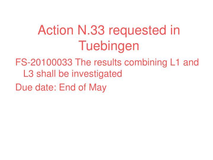 Action N.33 requested in Tuebingen