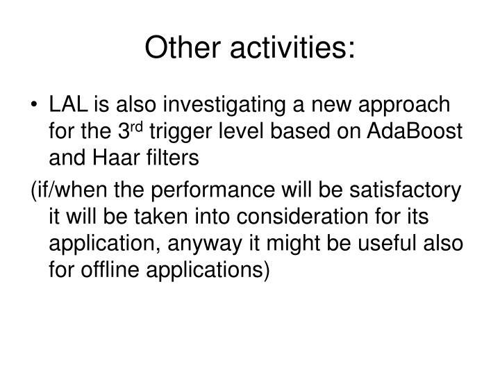 Other activities: