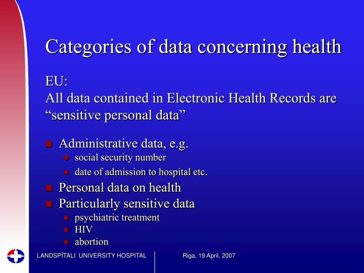 Categories of data concerning health