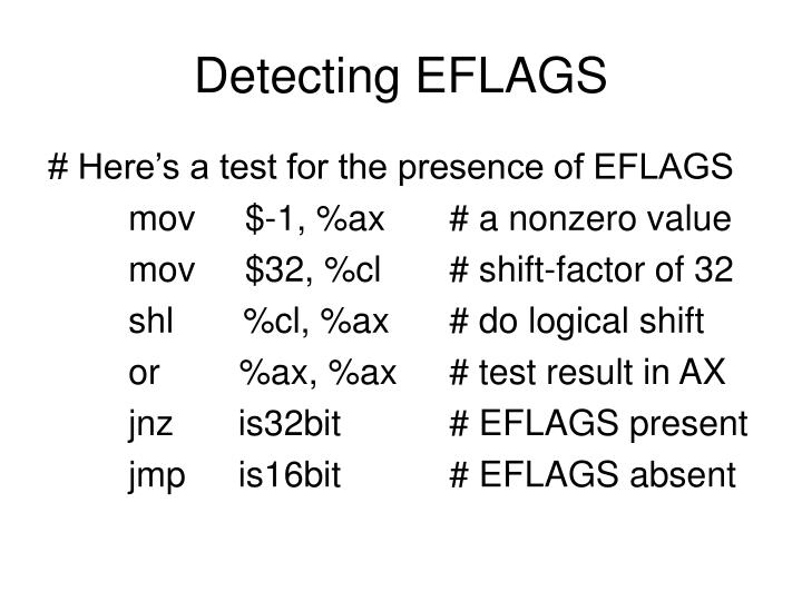 Detecting EFLAGS