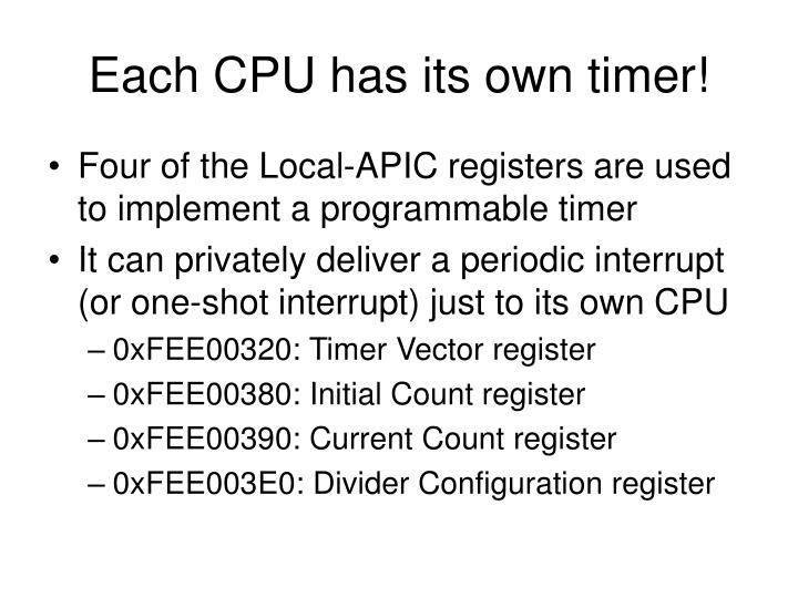 Each CPU has its own timer!