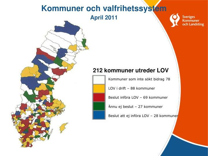 Kommuner och valfrihetssystem april 2011