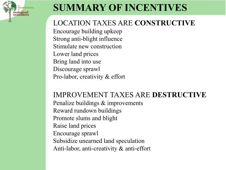 SUMMARY OF INCENTIVES