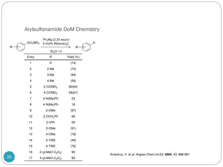 Arylsulfonamide DoM Chemistry