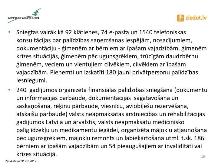 Sniegtas vairāk kā 92 klātienes, 74 e-pasta un 1540 telefoniskas konsultācijas par palīdzības saņemšanas iespējām, nosacījumiem, dokumentāciju - ģimenēm ar bērniem ar īpašam vajadzībām, ģimenēm krīzes situācijās, ģimenēm pēc ugunsgrēkiem, trūcīgām daudzbērnu ģimenēm, veciem un vientuļiem cilvēkiem, cilvēkiem ar īpašam vajadzībām. Pieņemti un izskatīti 180 jauni privātpersonu palīdzības iesniegumi.