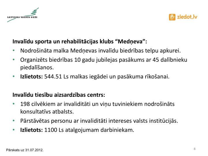 """Invalīdu sporta un rehabilitācijas klubs """"Medņeva"""":"""