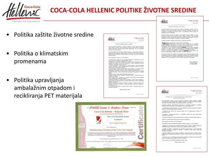 COCA-COLA HELLENIC POLITIKE ŽIVOTNE SREDINE