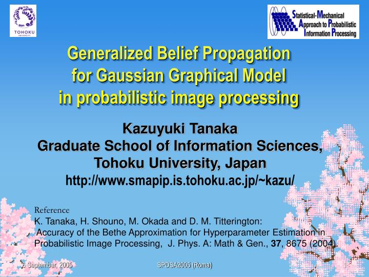 generalized belief propagation for gaussian graphical model in probabilistic image processing n.