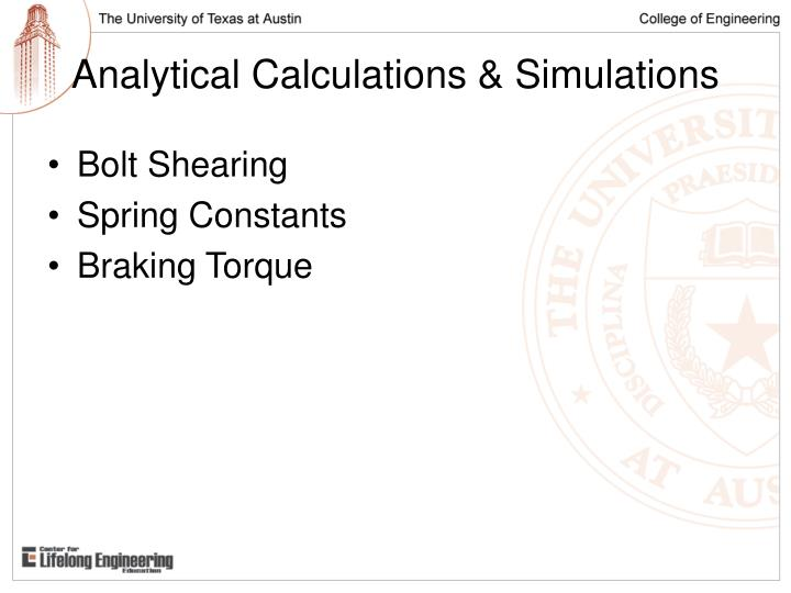 Analytical calculations simulations