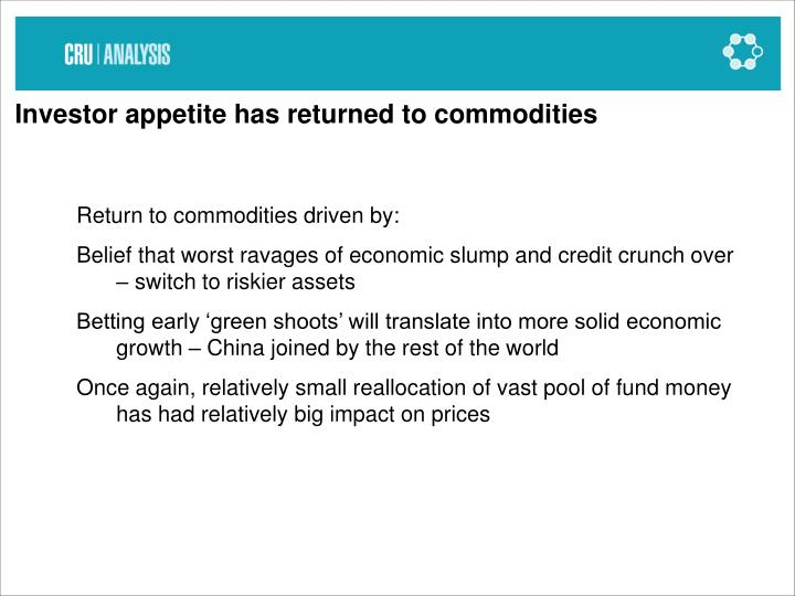 Investor appetite has returned to commodities
