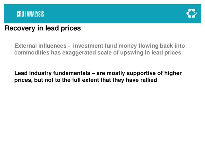 Recovery in lead prices