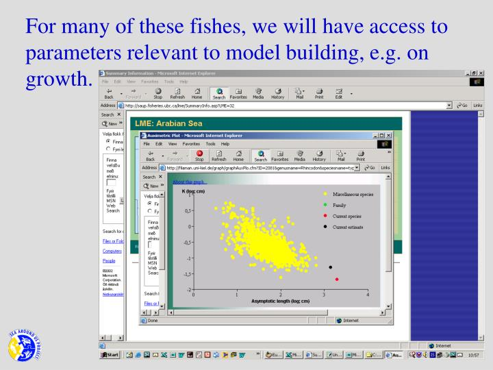 For many of these fishes, we will have access to parameters relevant to model building, e.g. on growth.
