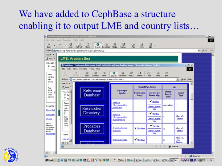 We have added to CephBase a structure enabling it to output LME and country lists…