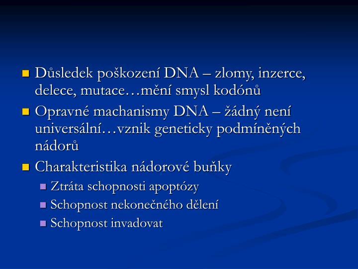 Důsledek poškození DNA – zlomy, inzerce, delece, mutace…mění smysl kodónů
