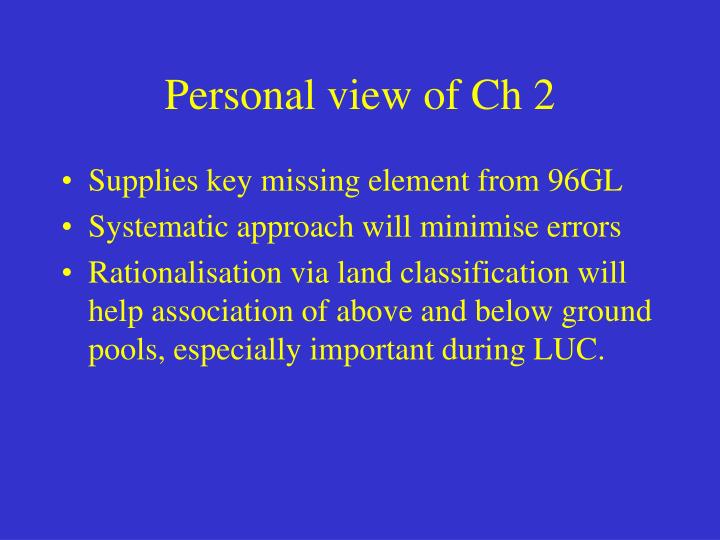 Personal view of Ch 2