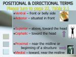 positional directional terms please turn to page 22 table 2 1
