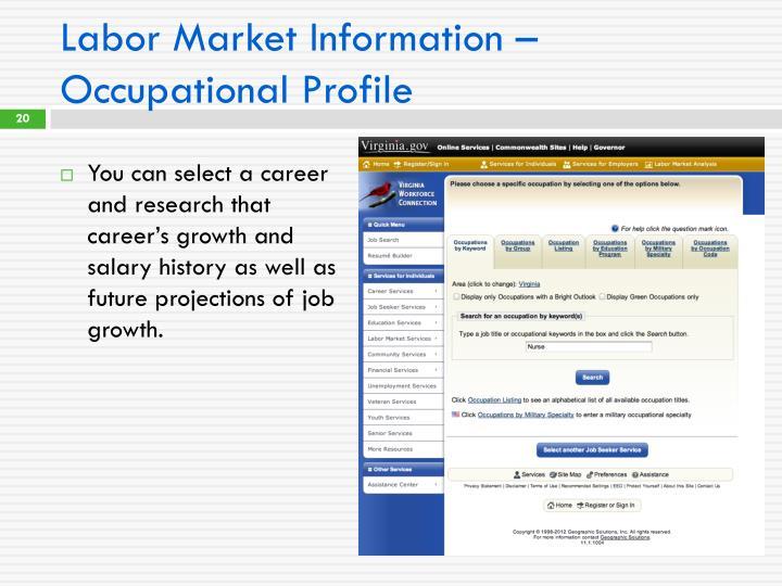 Labor Market Information – Occupational Profile