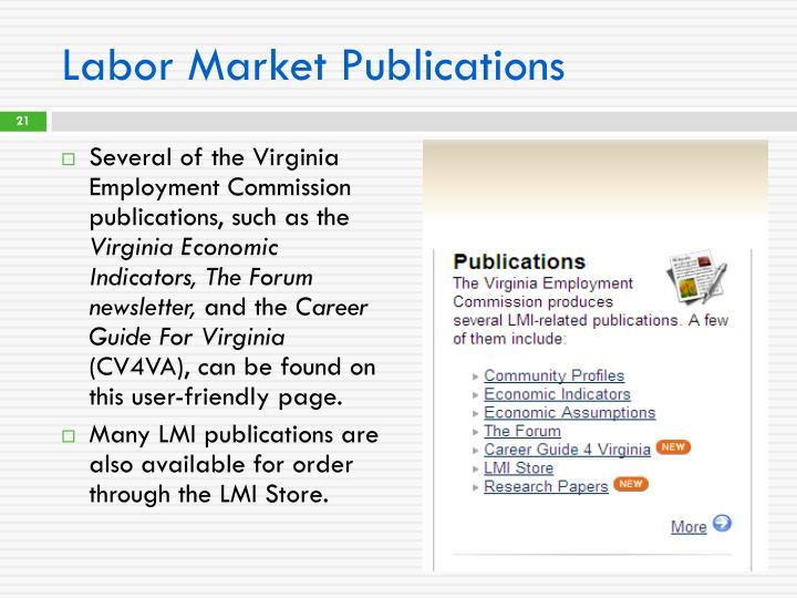 Labor Market Publications
