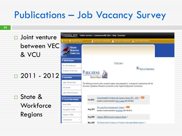 Publications – Job Vacancy Survey