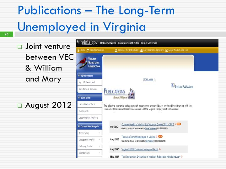 Publications – The Long-Term Unemployed in Virginia