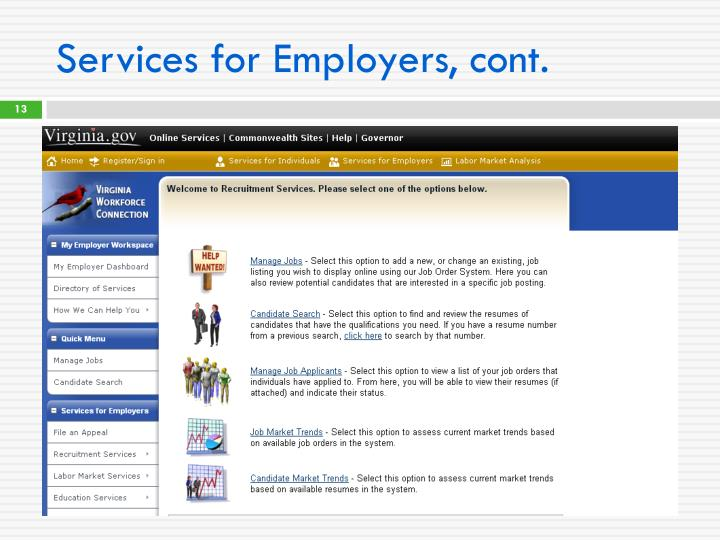Services for Employers, cont.