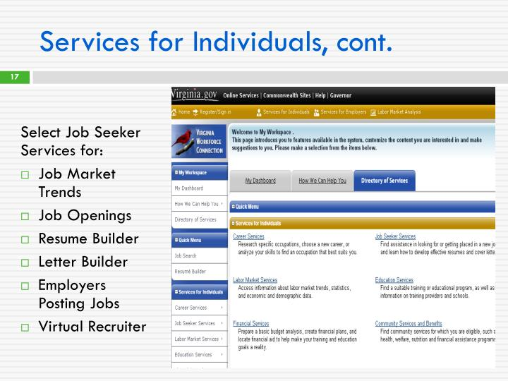 Services for Individuals, cont.