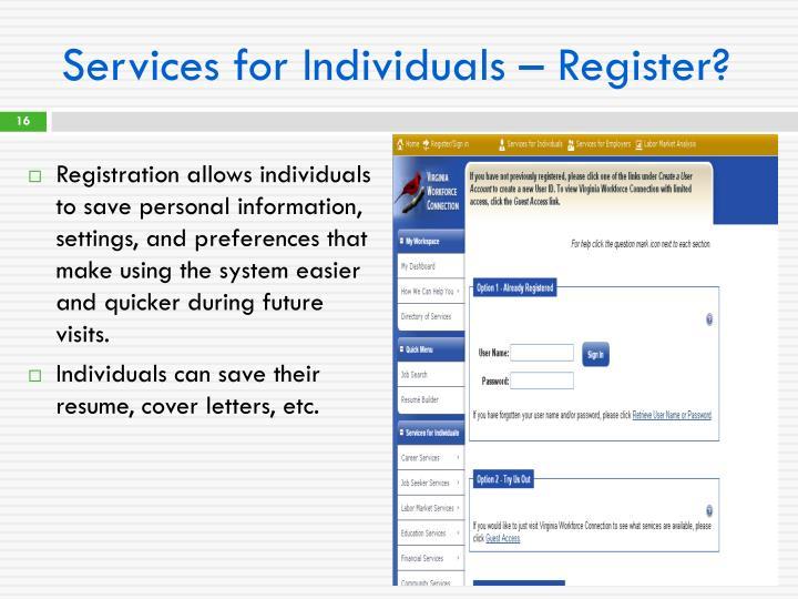 Services for Individuals – Register?