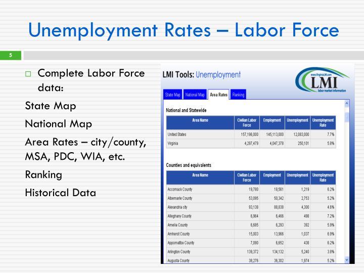 Unemployment Rates – Labor Force