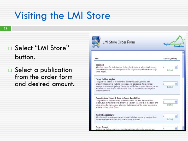 Visiting the LMI Store