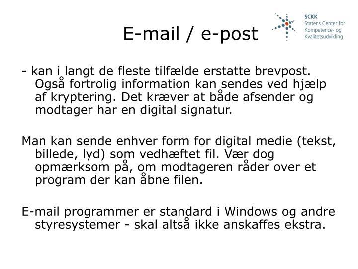 E-mail / e-post