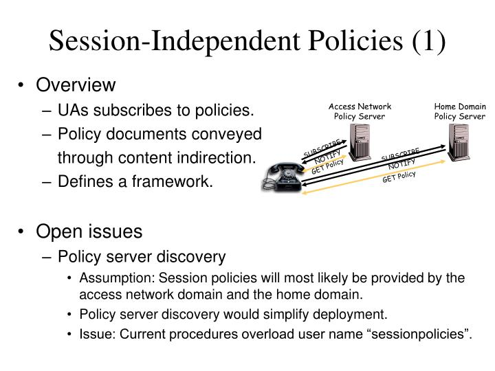 Session independent policies 1