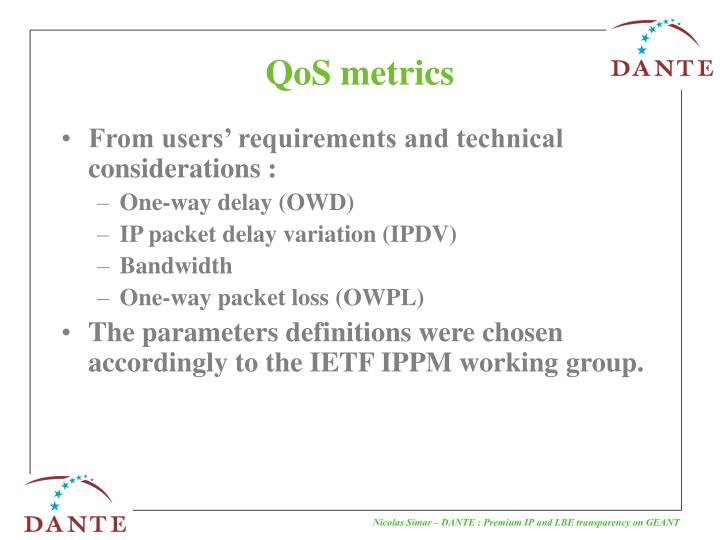 Qos metrics