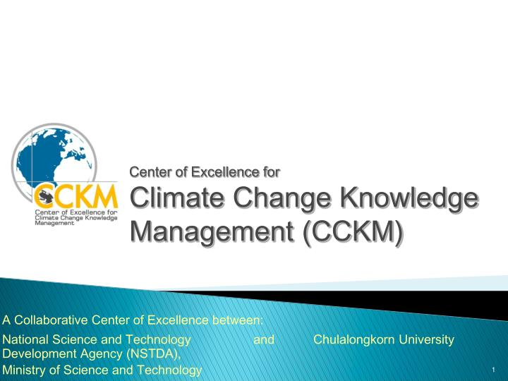 Center of excellence for climate change knowledge management cckm