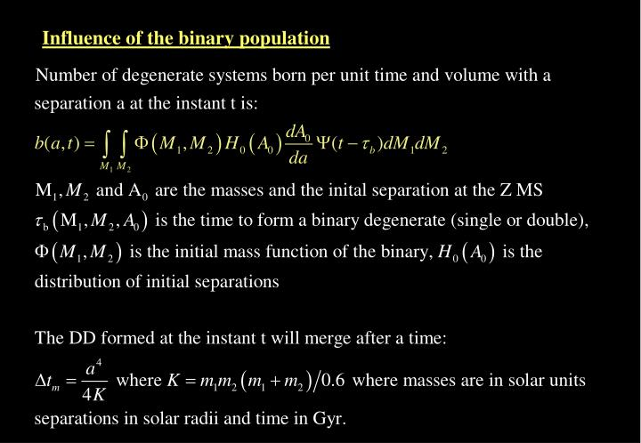 Influence of the binary population