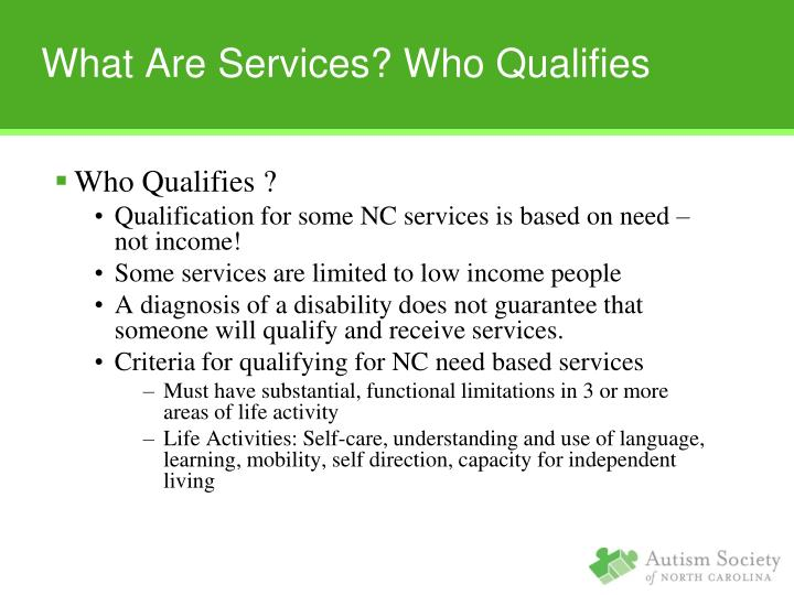 What Are Services? Who Qualifies