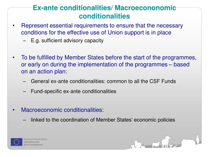 Ex-ante conditionalities/ Macroecononomic conditionalities