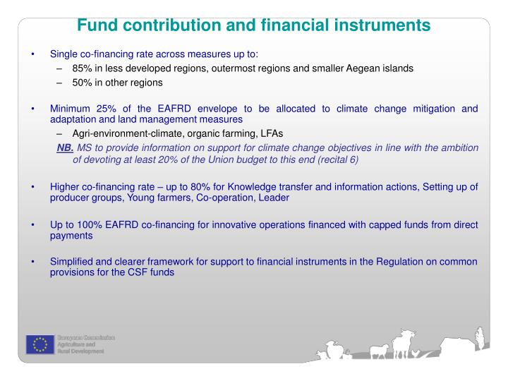 Fund contribution and financial instruments