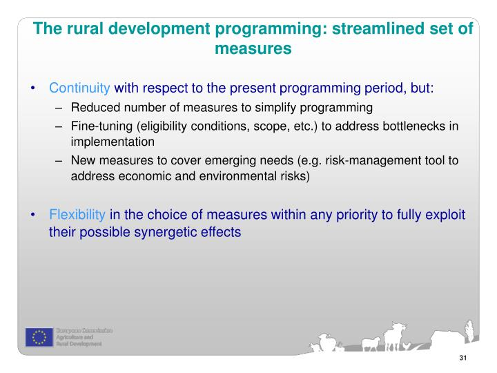 The rural development programming: streamlined set of measures