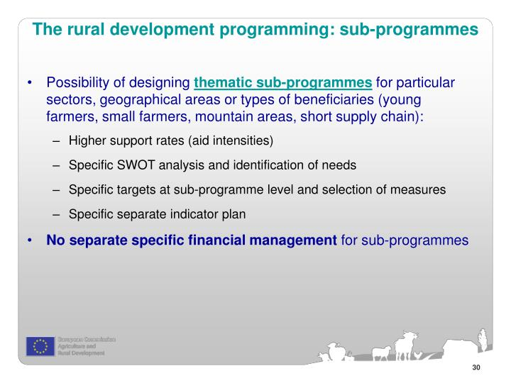 The rural development programming: sub-programmes