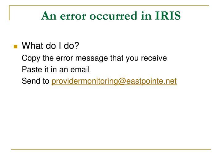 An error occurred in IRIS