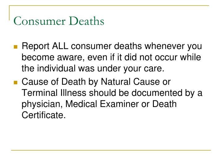 Consumer Deaths