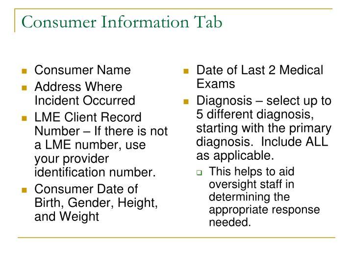 Consumer Information Tab
