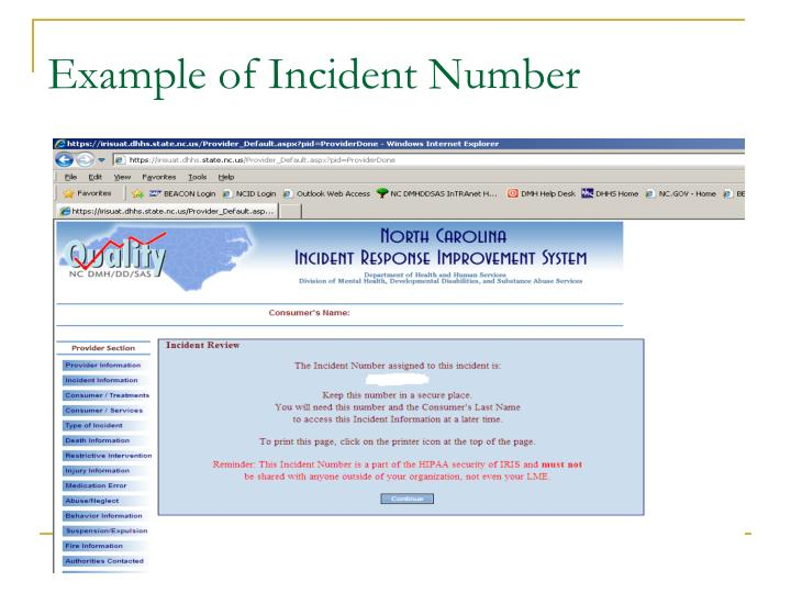 Example of Incident Number