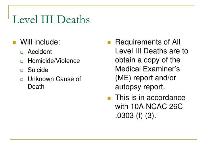 Level III Deaths