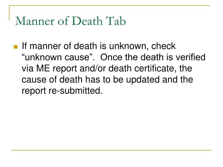 Manner of Death Tab
