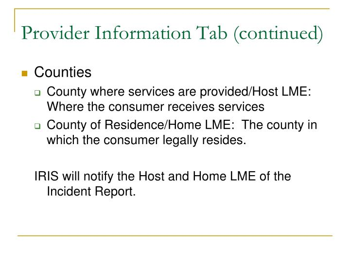 Provider Information Tab (continued)