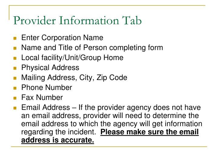 Provider Information Tab