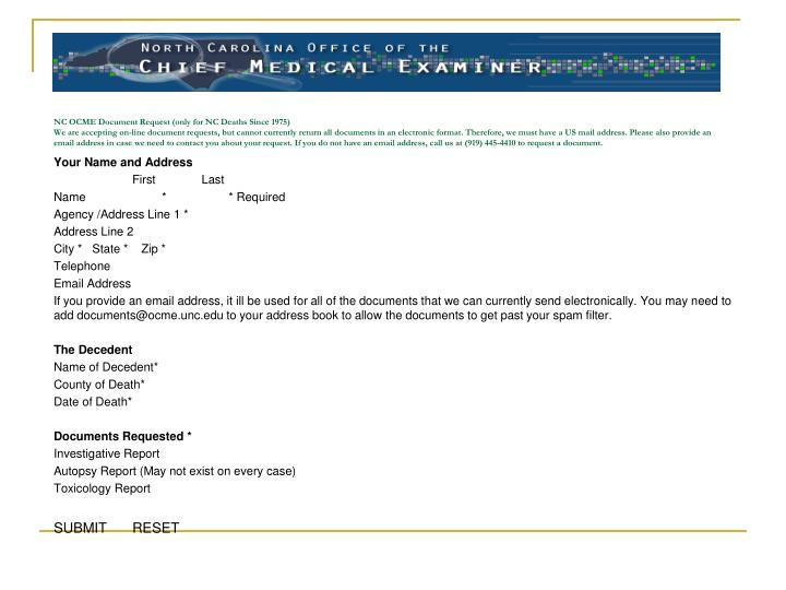 NC OCME Document Request (only for NC Deaths Since 1975)