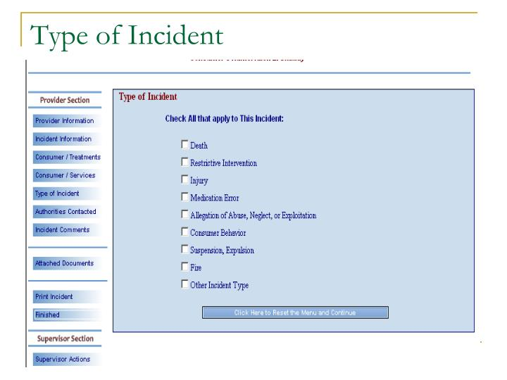Type of Incident